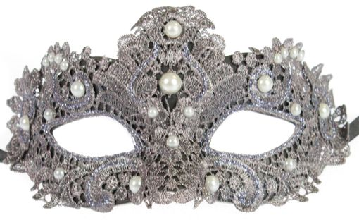 Grey Brisa Fabric Venetian Embroidered Masquerade Mask