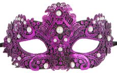 Purple Brisa Fabric Venetian Embroidered Masquerade Mask