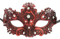 Red Brisa Fabric Venetian Embroidered Masquerade Mask