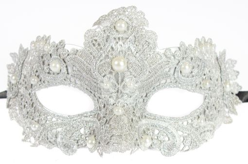 Silver Brisa Fabric Venetian Embroidered Masquerade Mask