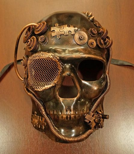 Bronze Skull Steam Punk Mask