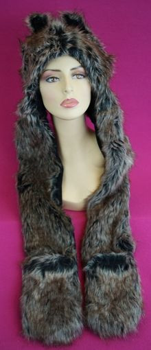 Brown Faux Fur Hat with Mittens