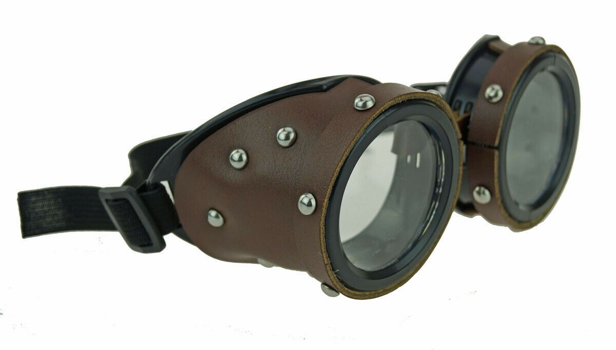 Brown Leather Aviator Costume Goggles With Metal Studs