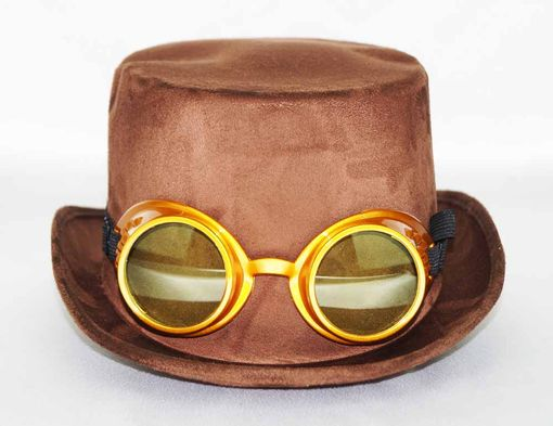 Brown Steam Punk Hat With Goggles