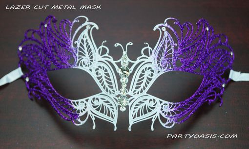 Purple Butterfly Lazer Cut Metal Masquerade Mask