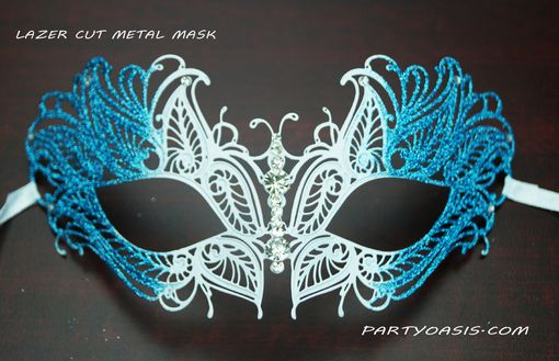 Butterfly Lazer Cut Metal Mask Aqua