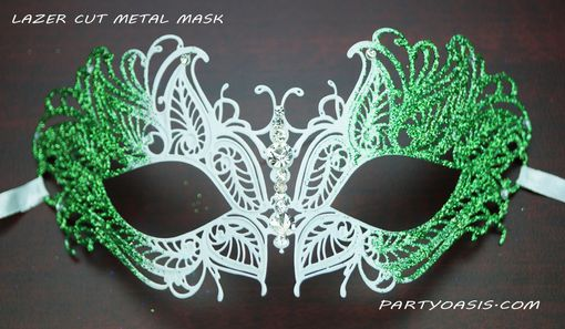 Green Butterfly Lazer Cut Metal Masquerade Mask