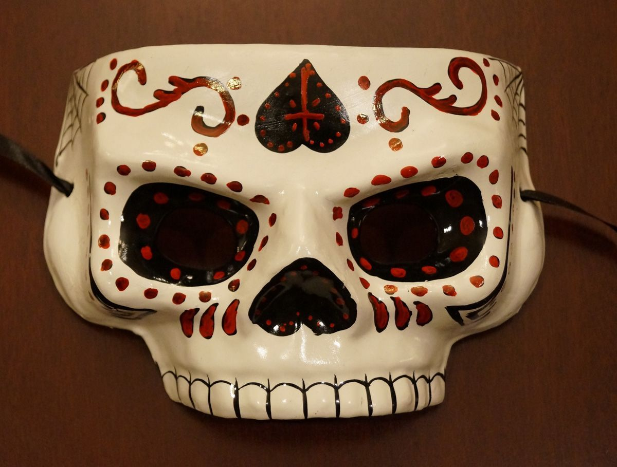 Day Of The Dead Mask White And Red Sugar Skull Mask