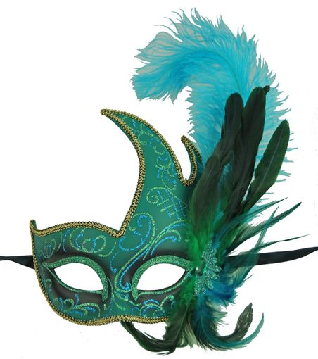 Capri Turquoise Feather Masquerade Mask