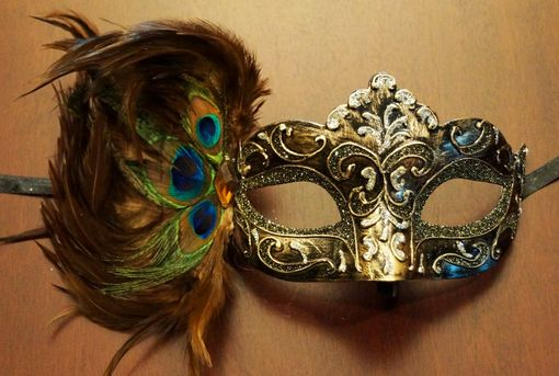 Carnival Feather Eye Mask Bronze