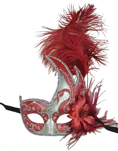 Red Carnival Swan Masquerade Mask With Feathers