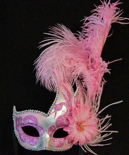 Pink Carnival Swan Masquerade Mask With Feathers