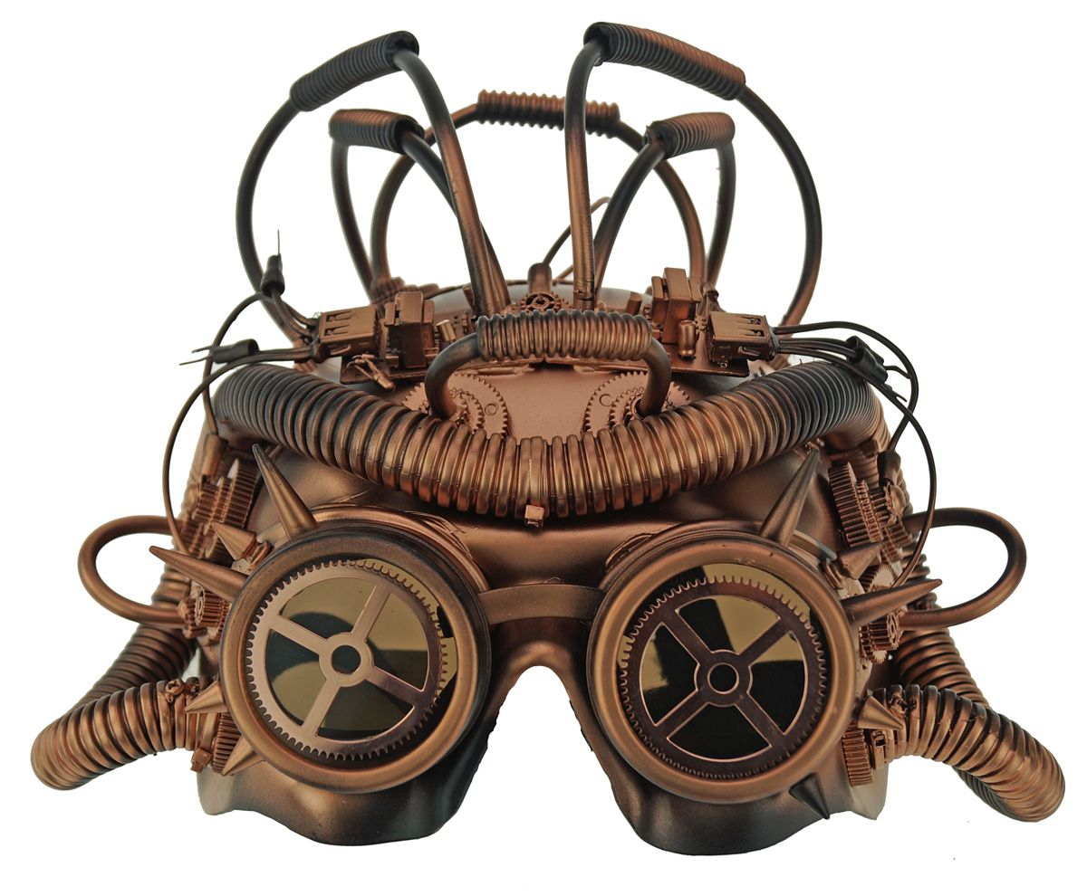 Copper Steampunk Space Mask With Goggles