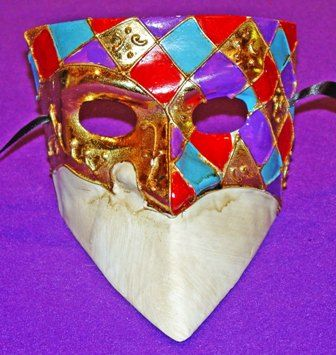 Checkered Bauta Masquerade Mask