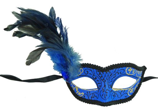 Blue Classita Carnival Masquerade Mask Blue With Feathers