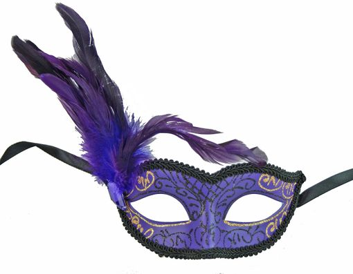 Purple Classita Carnival Masquerade Mask Purple With Feathers