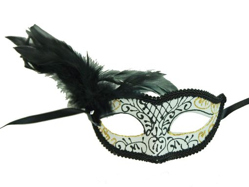 Classita Carnival Masquerade Mask White With Feathers