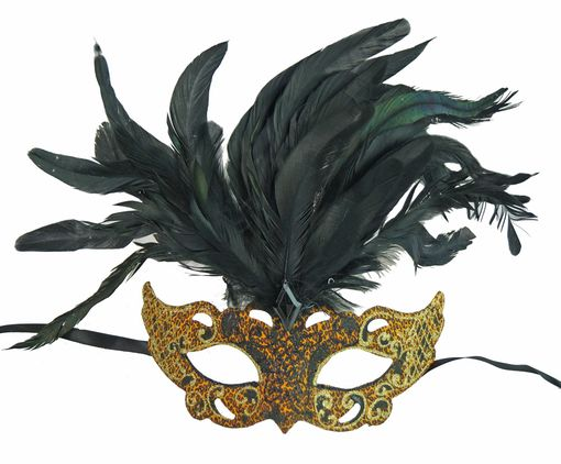 Cougar Party Masquerade Mask With Feathers