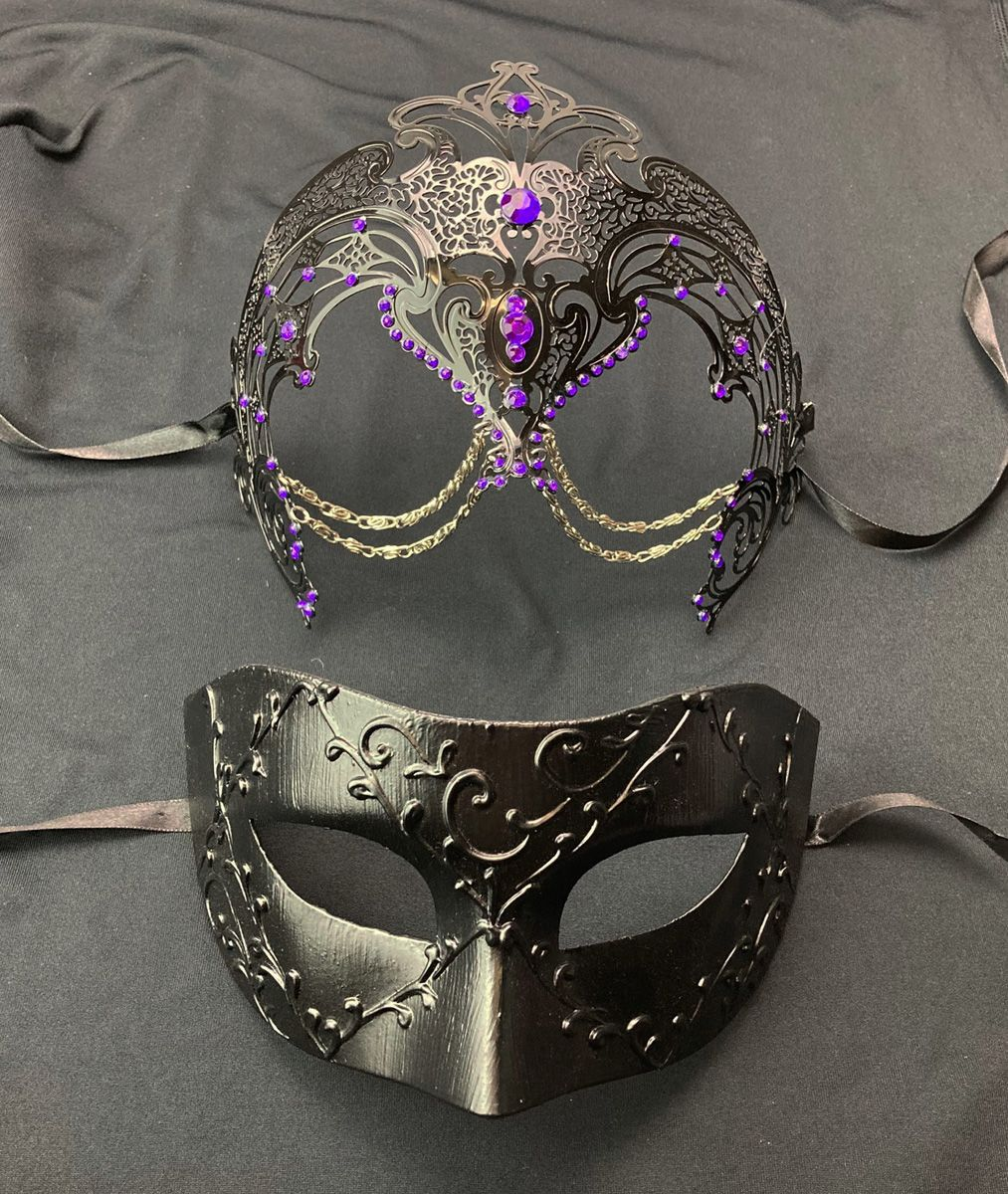 Couples Masquerade Masks Purple And Black