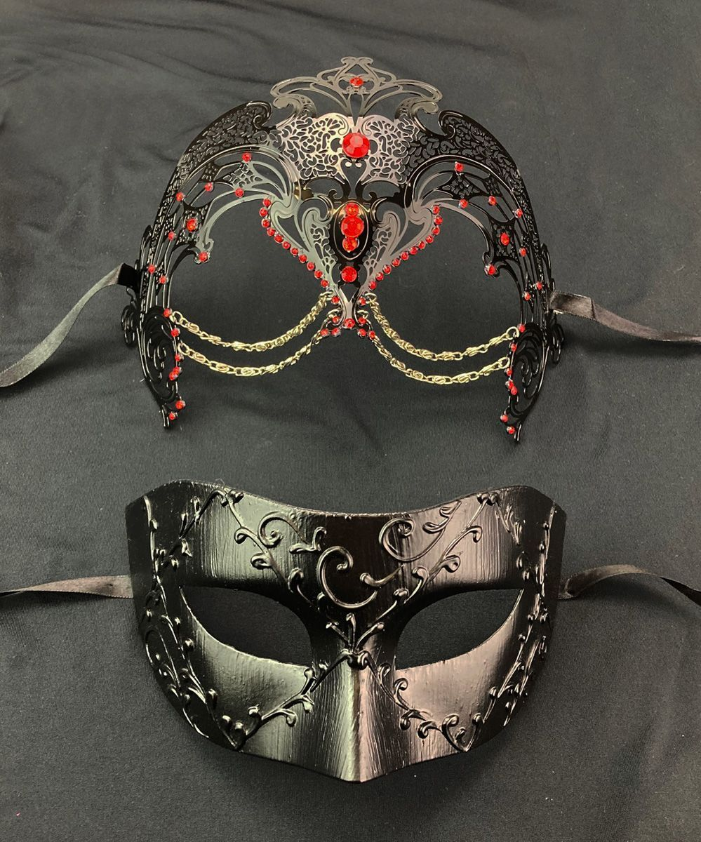 Couples Venetian Masks Red And Black His and Hers Masks