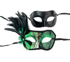 Couples Venetian Masquerade Mask Set Green And Black