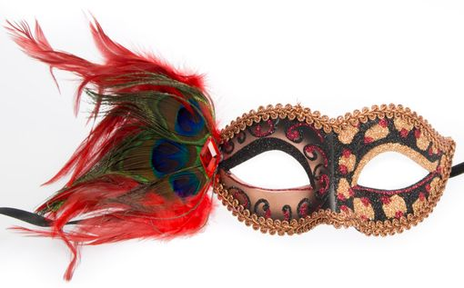 Courtney Masquerade Eye Mask Copper With Feathers