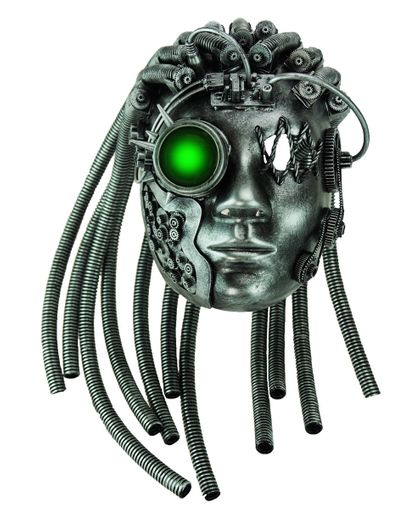 Cyborg Steampunk Mask With Gears And Glow LED Lights