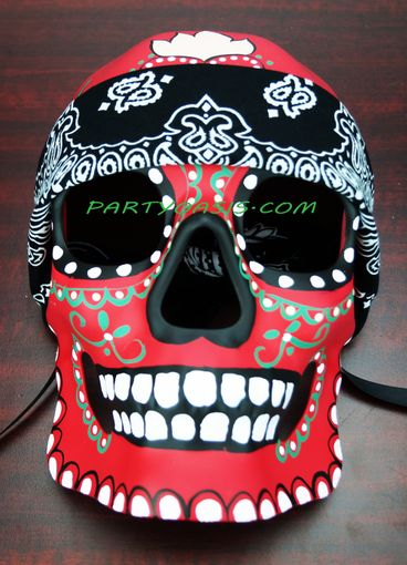 Day Of The Dead Bandana Mask Red