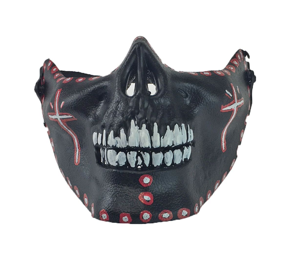 Day Of The Dead Half Face Skull Mouth Guard Halloween Half Skull Black