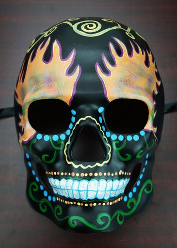 Day Of The Dead Skull Mask Fire