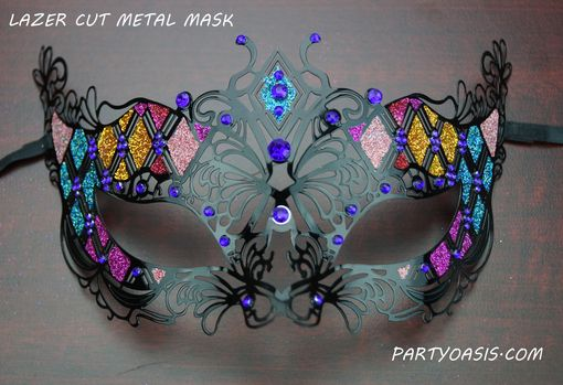 Blue Divine Metal Masquerade Mask With Glitter