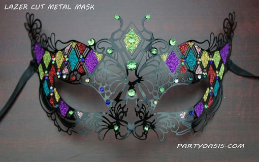 Green Divine Metal Masquerade Mask With Glitter