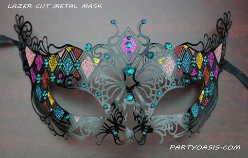 Aqua Divine Metal Masquerade Mask With Glitter