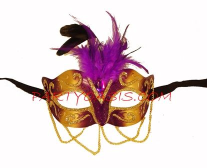 Purple Egyptian Masquerade Eye Mask With Feathers