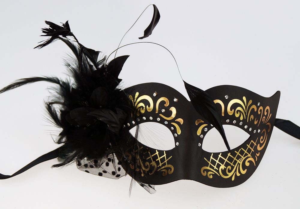 Elegant Feather Eye Mask Black