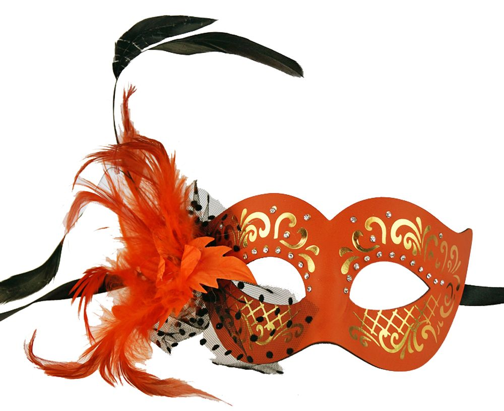 Elegant Feather Masquerade Eye Mask Orange