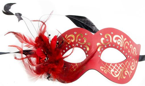 Elegant Feather Eye Mask Red