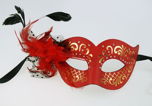 Elegant Feather Masquerade Mask Red