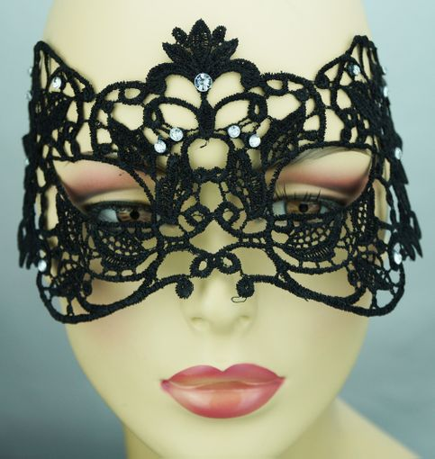 Embroidered Venetian Eye Embroidered Masquerade Mask Black