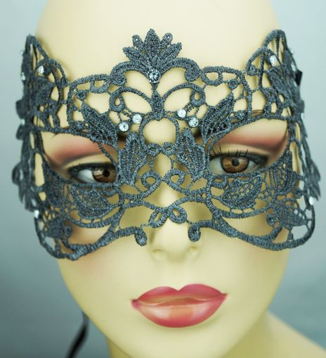 Embroidered Venetian Eye Mask Grey