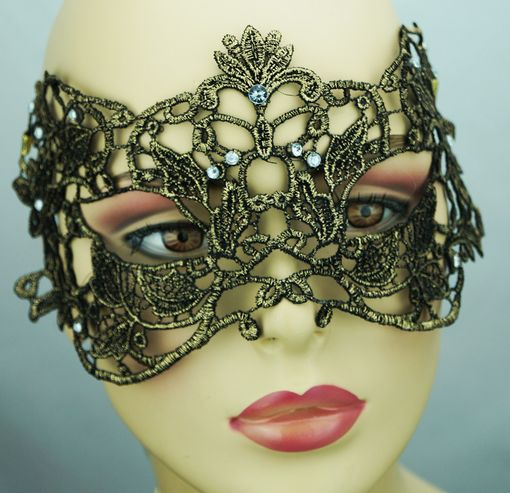 Embroidered Venetian Mask Embroidered Masquerade Bronze