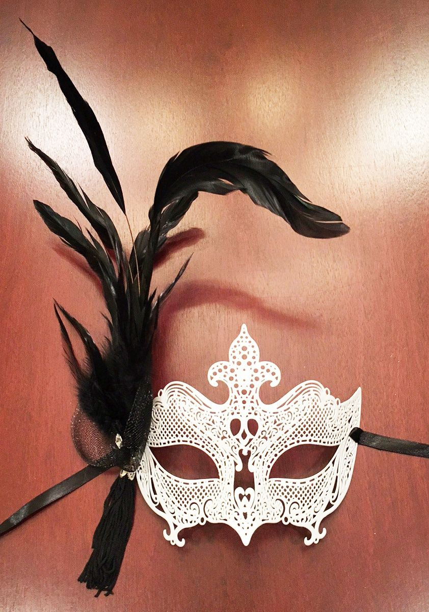 Enigma Feather Masquerade Mask White