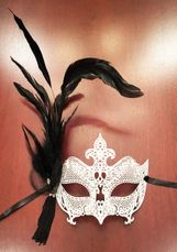 Enigma Feather Mask White