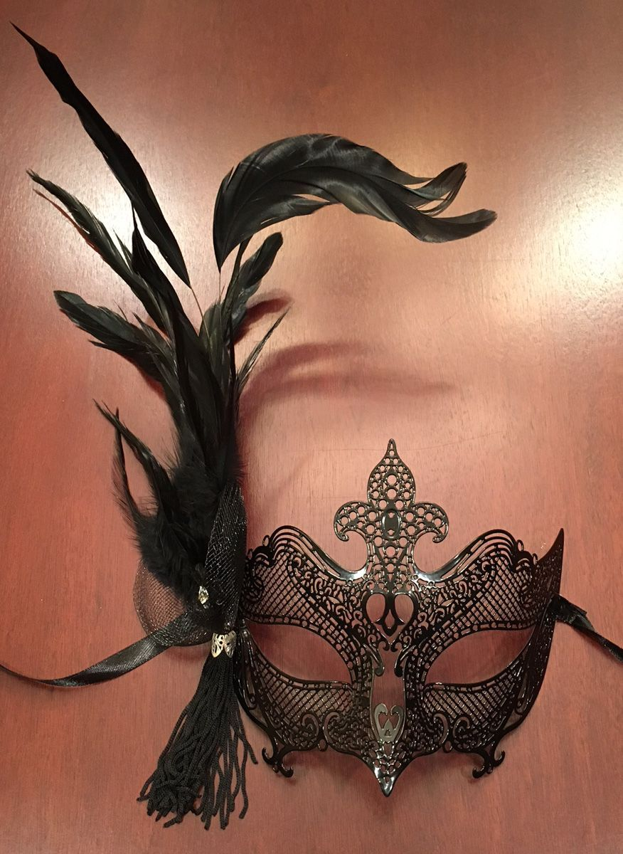 Women's Black Feather Masquerade Mask