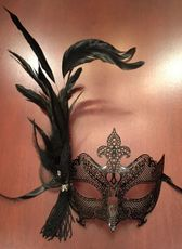 Enigma Feather MasqueradeMask Black