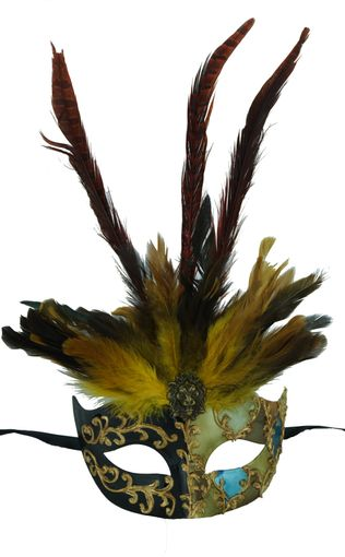 Exotic Venetian Feather Eye Mask Black