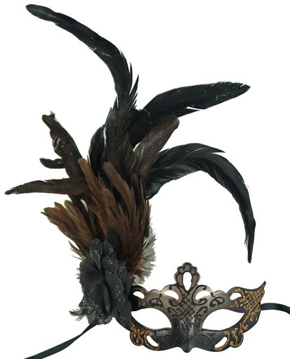 Black and Bronze Masquerade Mask with Feathers