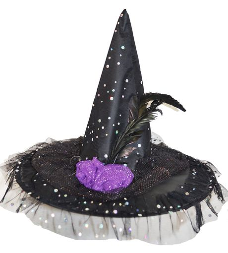 Fancy Feather Witch Hat Halloween With Hat Black
