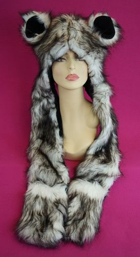 Faux Fur Bear Hat with Mittens