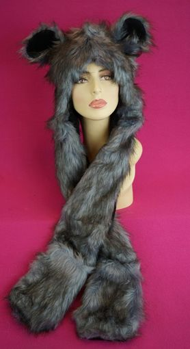 Faux Fur Hat with Ears and Mittens
